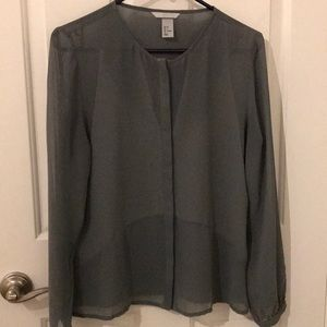 Gray top with sheer sleeves